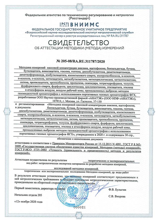МВИ № 205-08/RA.RU.311787/2020 АНАТЭК