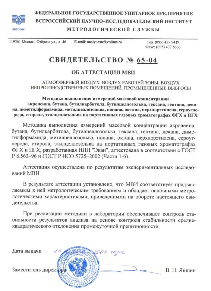 МВИ № 65-04 от 23.11.2004 АНАТЭК